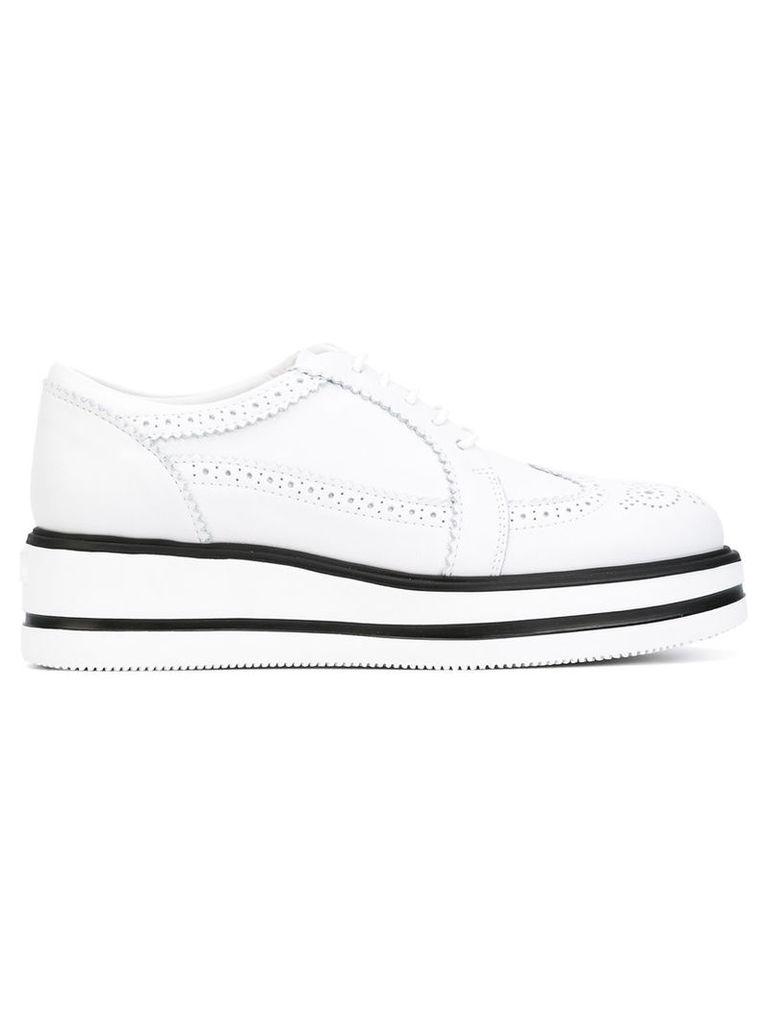 Hogan - punch holes platform sneakers - women - Leather/rubber - 37, White