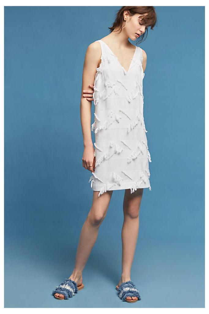 Posie Fringed Dress - White, Size Uk12