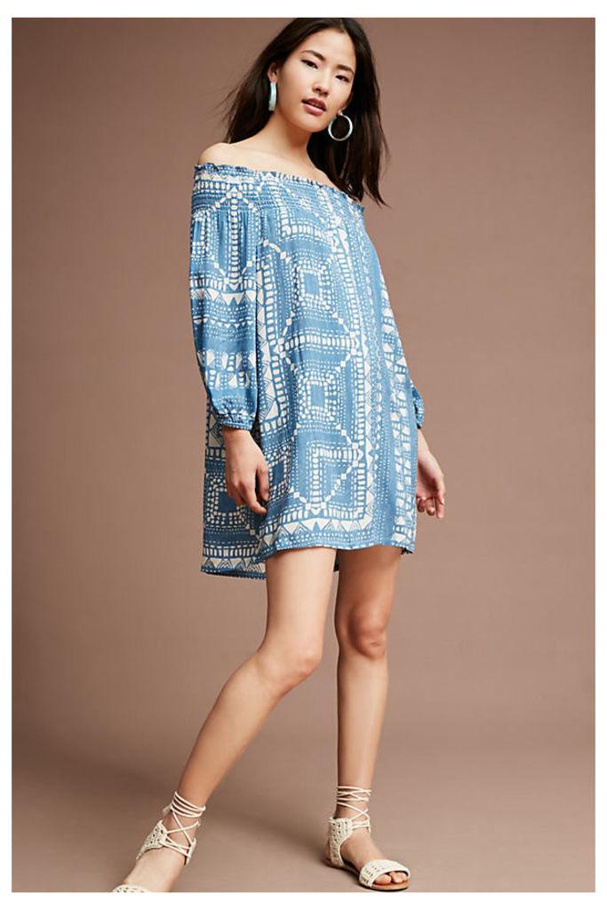 Boca Off-The-Shoulder Dress, Blue - Blue Motif, Size M