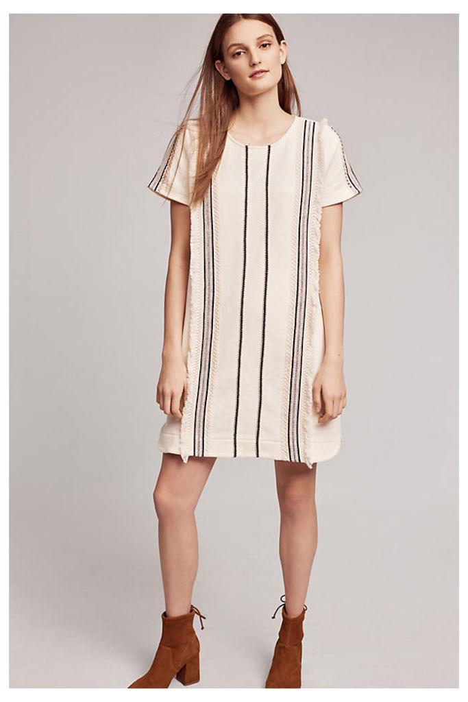 Luna Fringed Tunic Dress, Ivory - Ivory, Size S