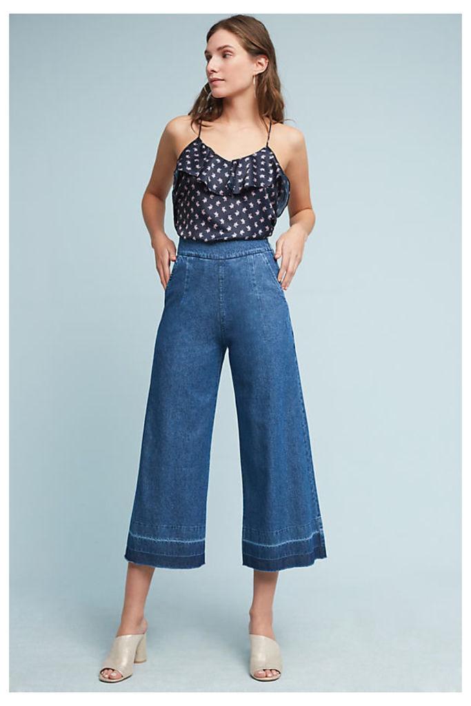 Ana Colourblock-Hem Wide-Leg Jeans - Blue, Size M