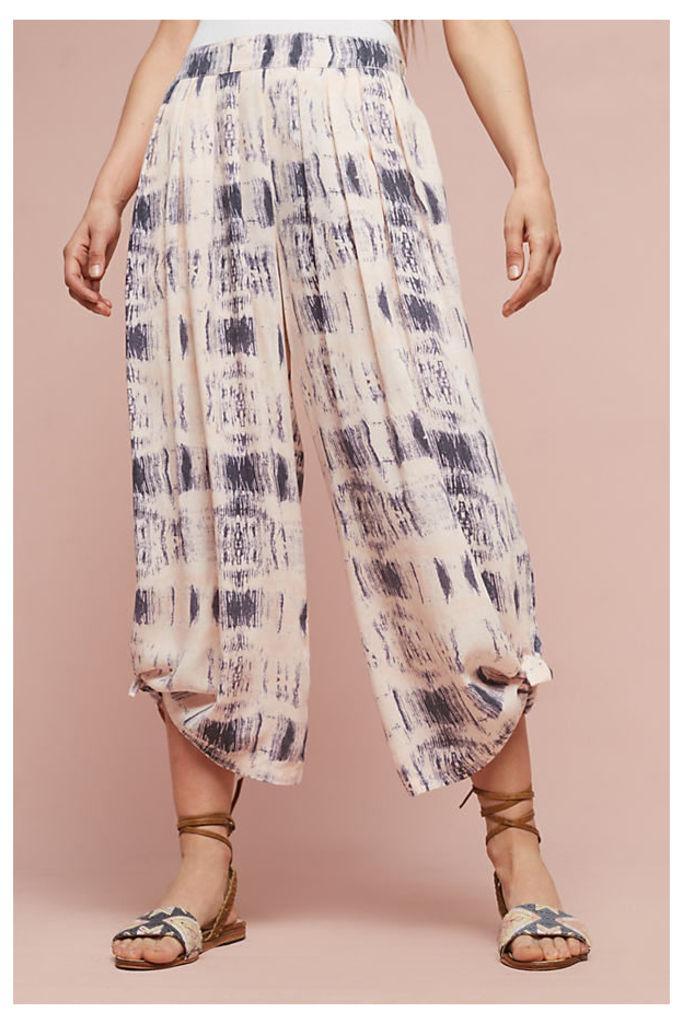 Dahlia Wide-Leg Trousers, Ivory - Peach, Size L