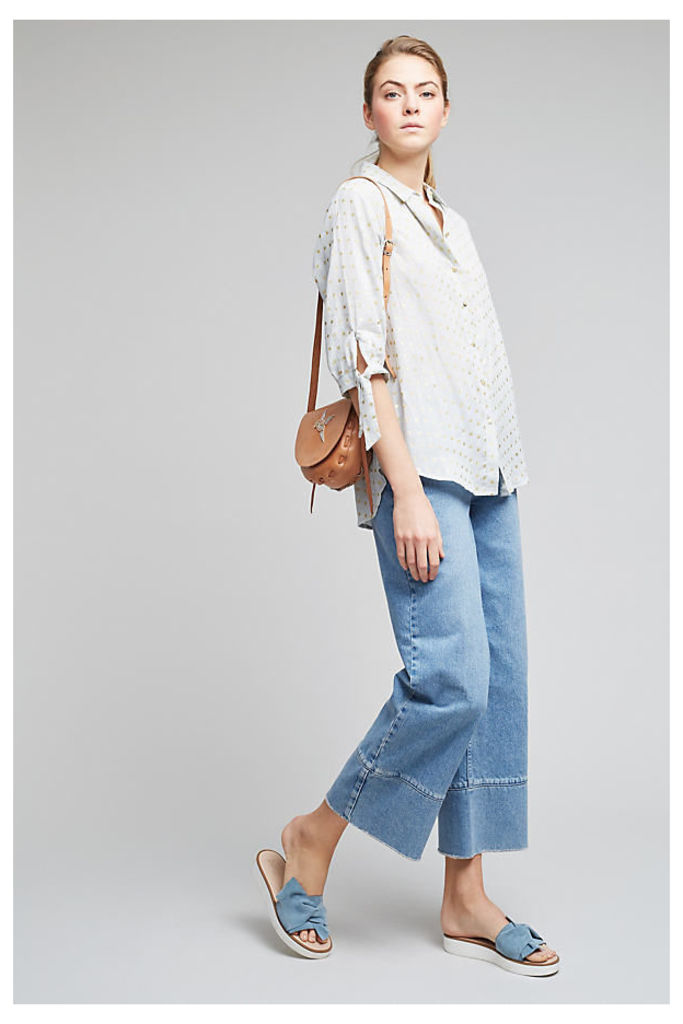 Dierdre Dotted Shirt - Sky, Size Uk 10