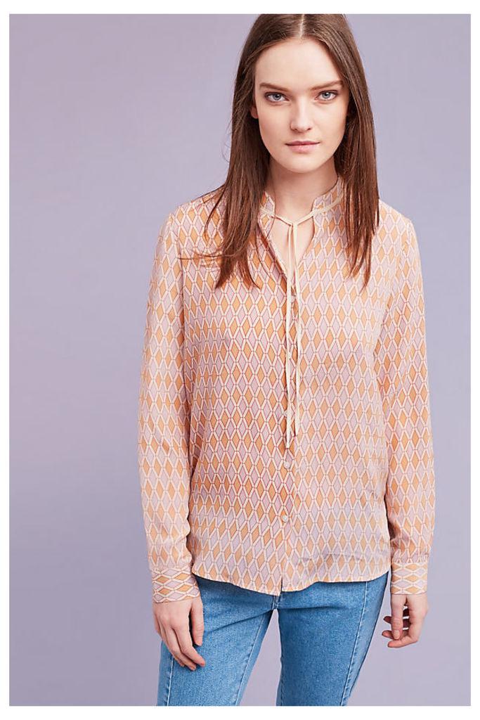 Marcella Geo-Print Silk Shirt, Pink - Pink, Size Uk 10