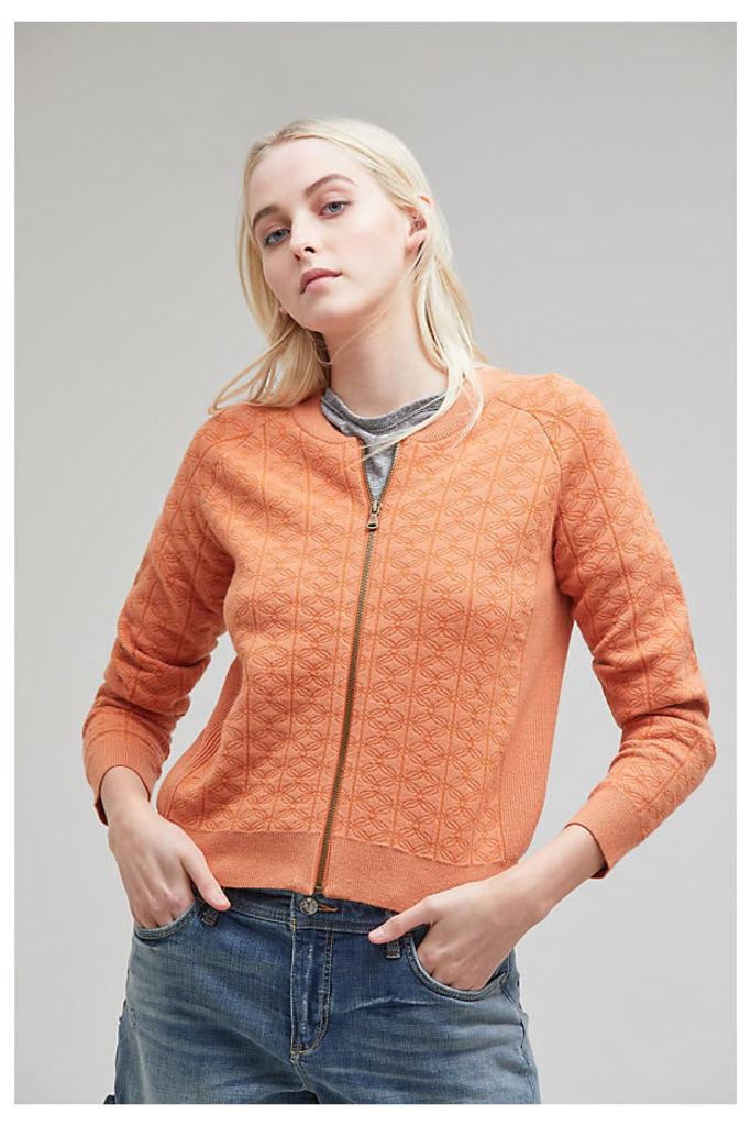 Kristin Textured Bomber Jacket, Orange - Orange, Size L