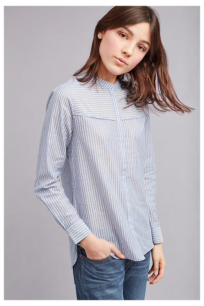 Evaline Striped Blouse, Blue - Blue, Size S