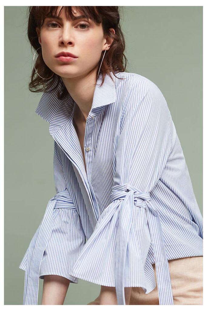 Brianna Bell-Sleeve Shirt, Blue - Blue Motif, Size L