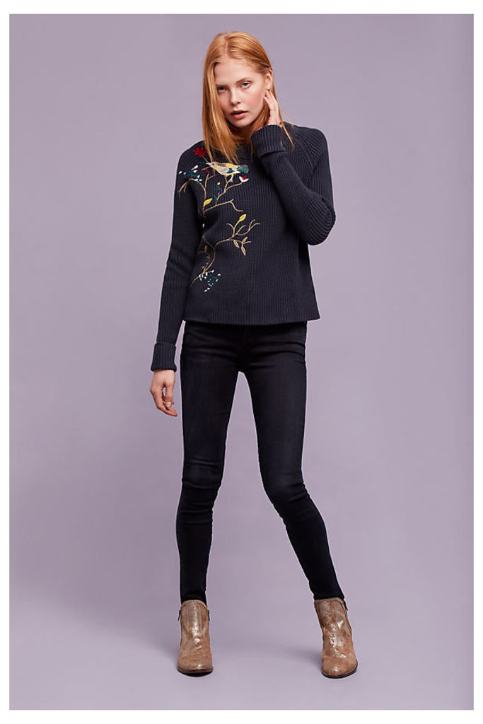 Saoirse Embroidered Jumper, Navy - Navy, Size S