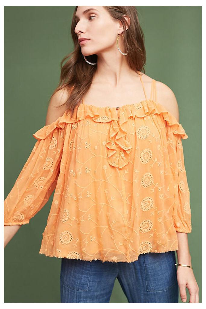 Maryana Open-Shoulder Blouse - Tangerine, Size S