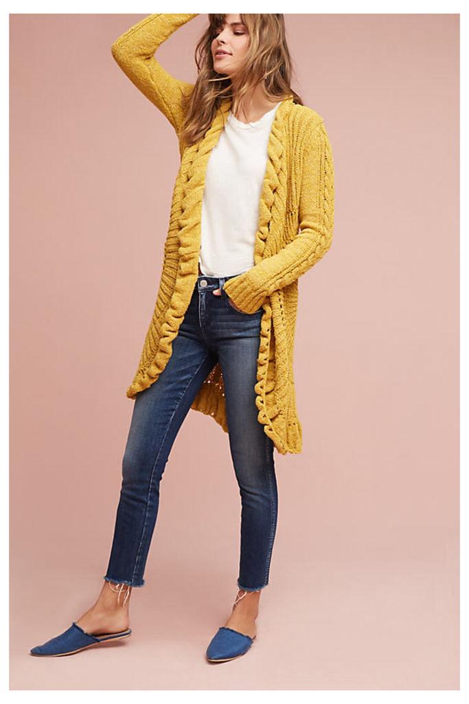 Circle-Knit Cardigan - Yellow, Size S