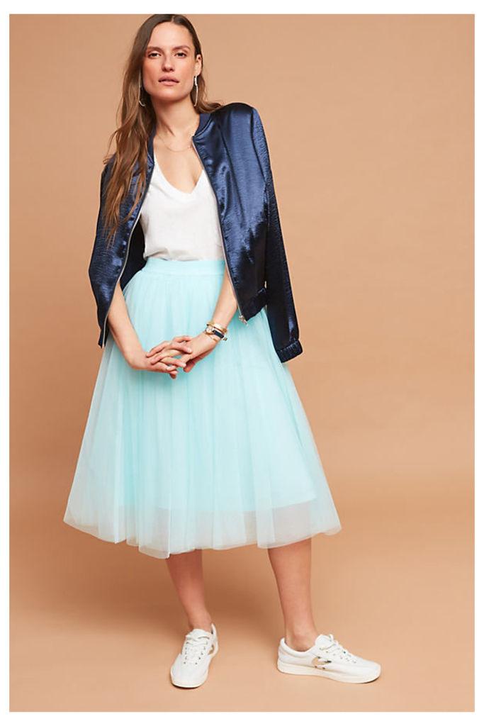 Isabella Tulle Midi Skirt - Turquoise, Size M