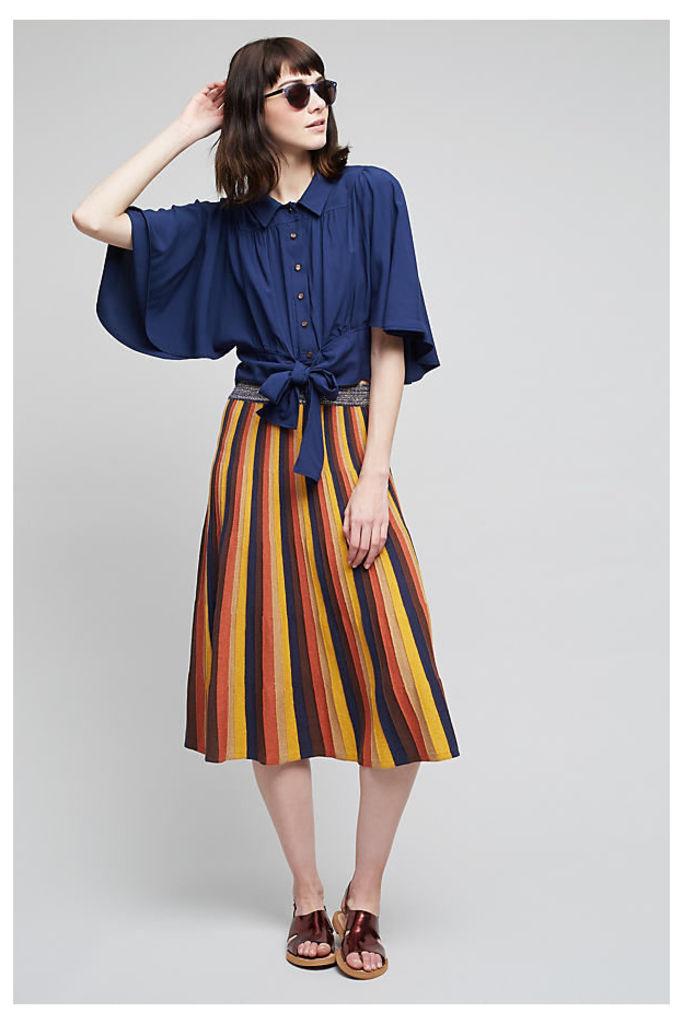 Amie Striped Midi Skirt, Orange - A/s, Size M