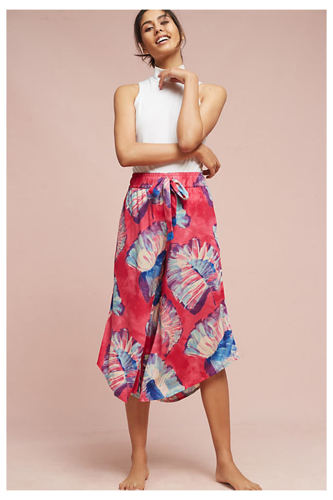 Josie Floral Pyjama Bottoms, Red - Rose, Size M