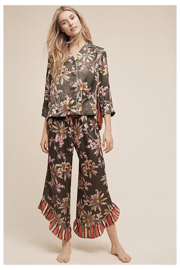 Juniper Floral Pyjama Bottoms - Dark Grey, Size Xl