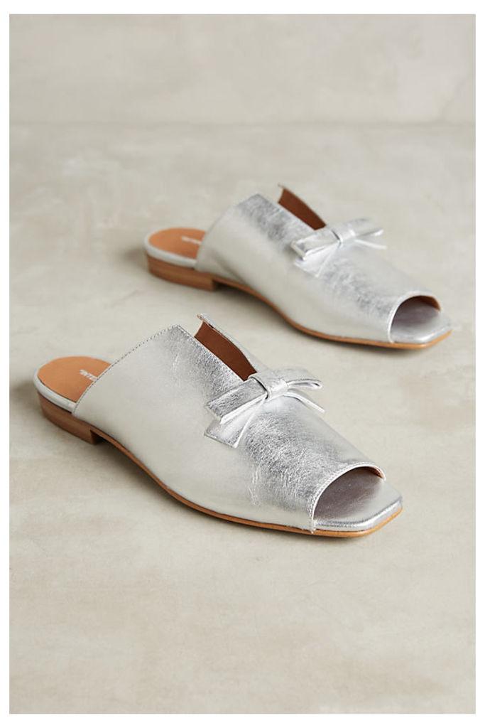 Sidney Metallic Flats - Silver, Size 8.