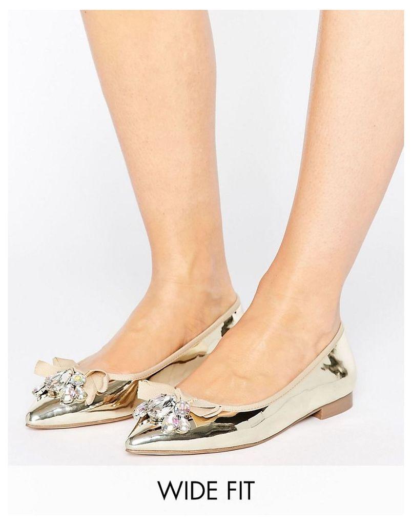 ASOS LUCA Wide Fit Embellished Ballet Flats - Gold
