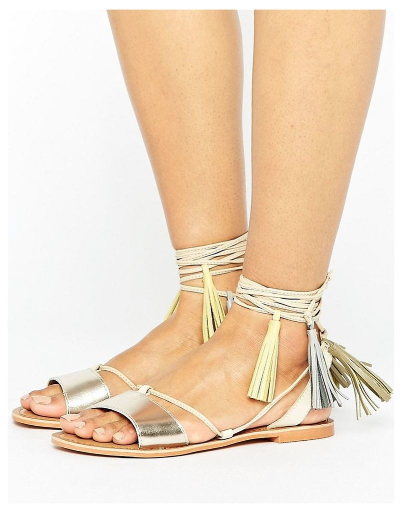 Glamorous Rose Gold Leather Tassle Tie Up Flat Sandals - Rose gold leather