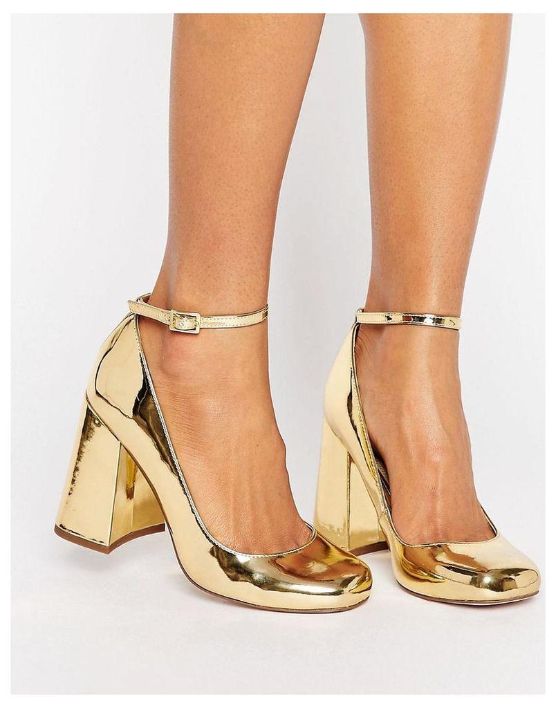ASOS PARADE High Block Heels - Gold