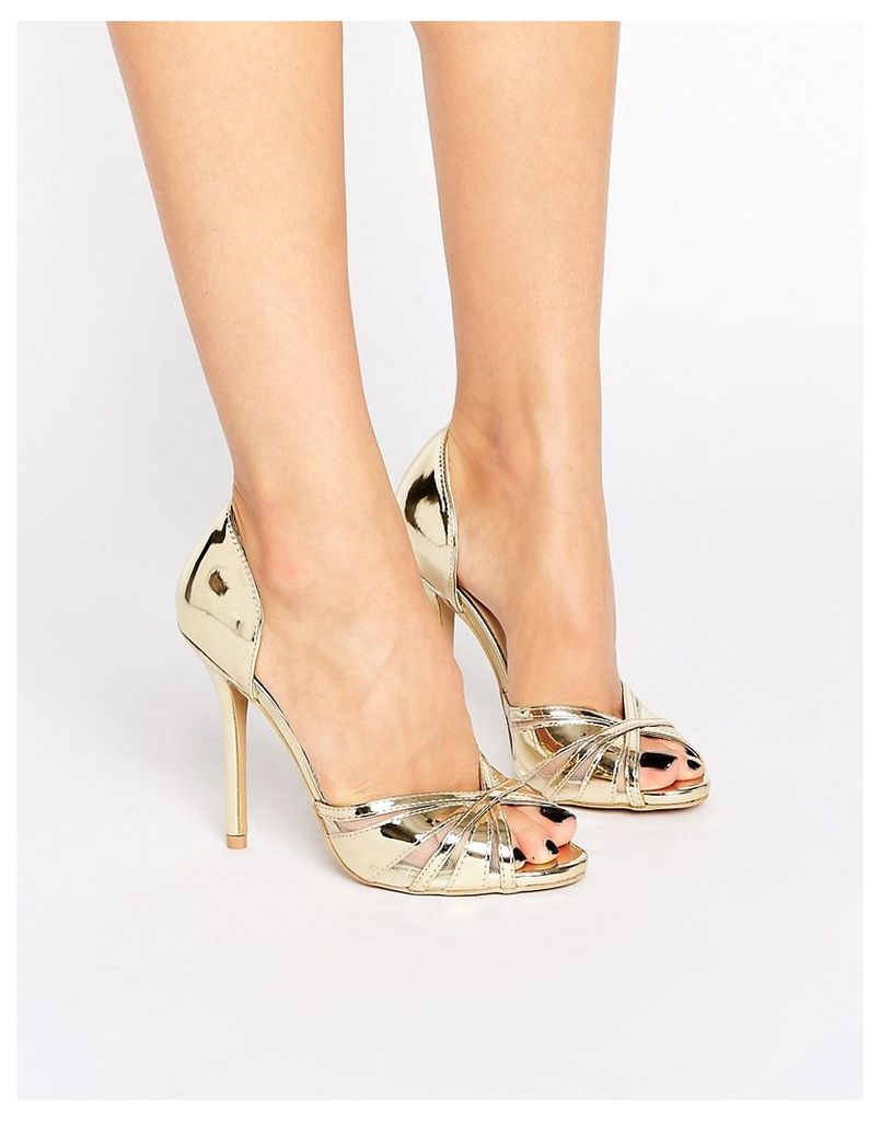 True Decadence Gold Metallic Heeled Peep Toe Sandals - Gold metallic