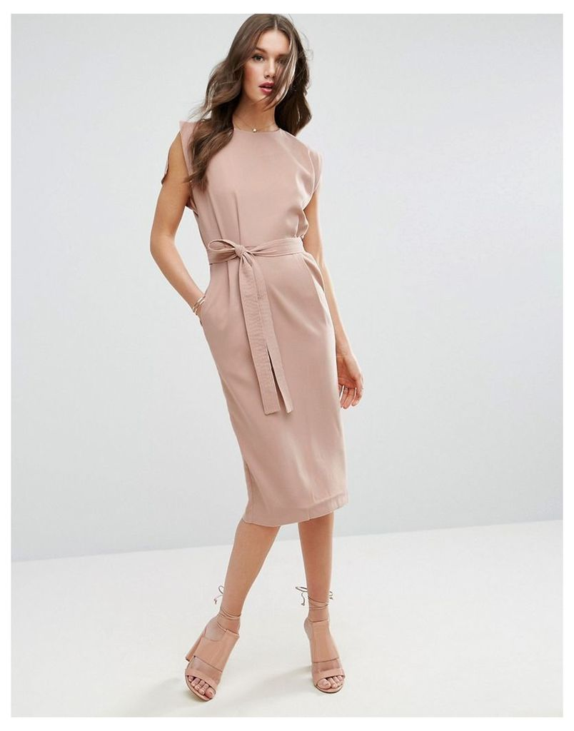 ASOS Belted Midi Dress with Split Cap Sleeve and Pencil Skirt - Pink