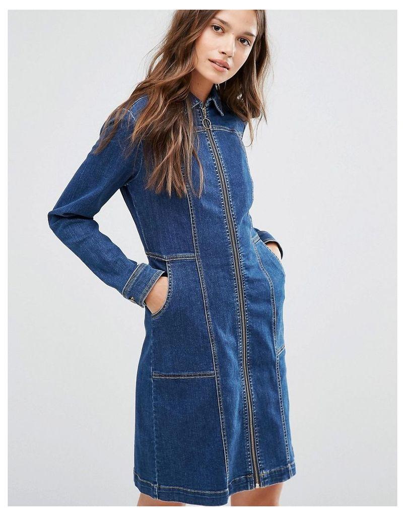 Gestuz Denim Dress with Zip - Blue