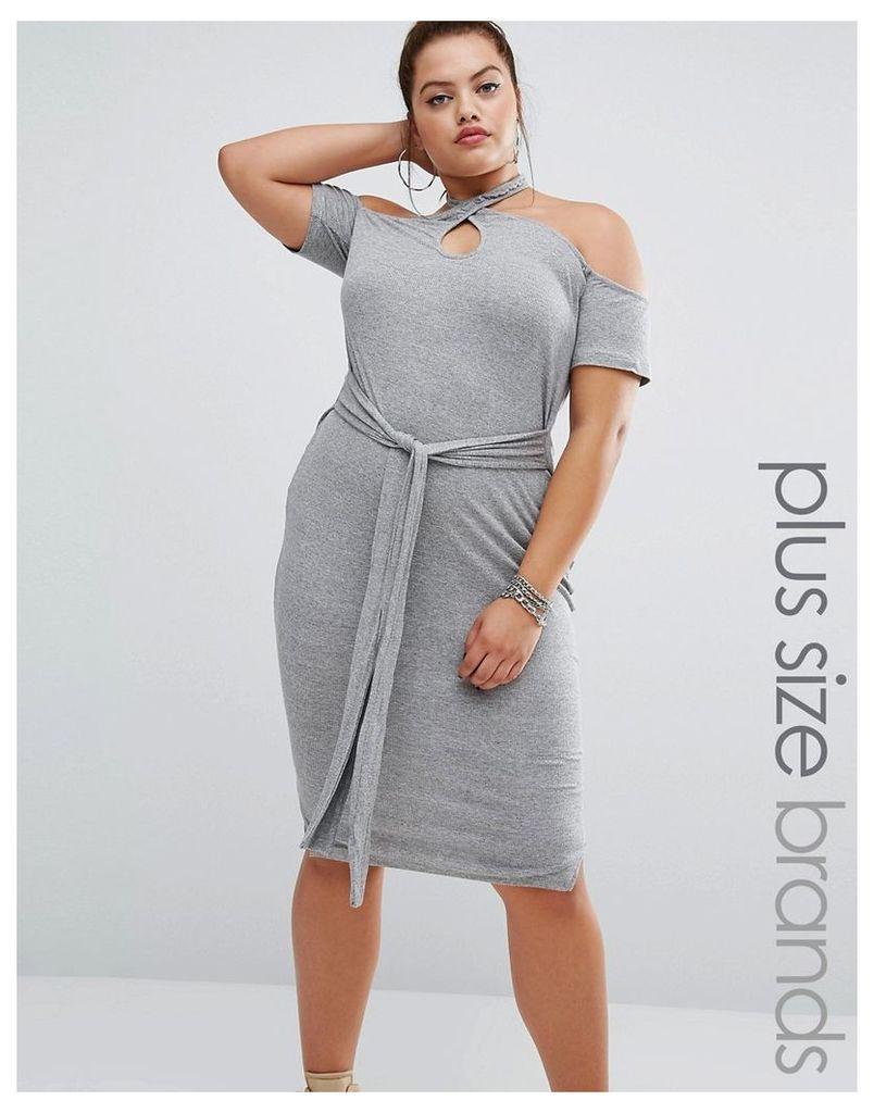 One One Three Halter Bodycon Dress With Tie Detail - Grey