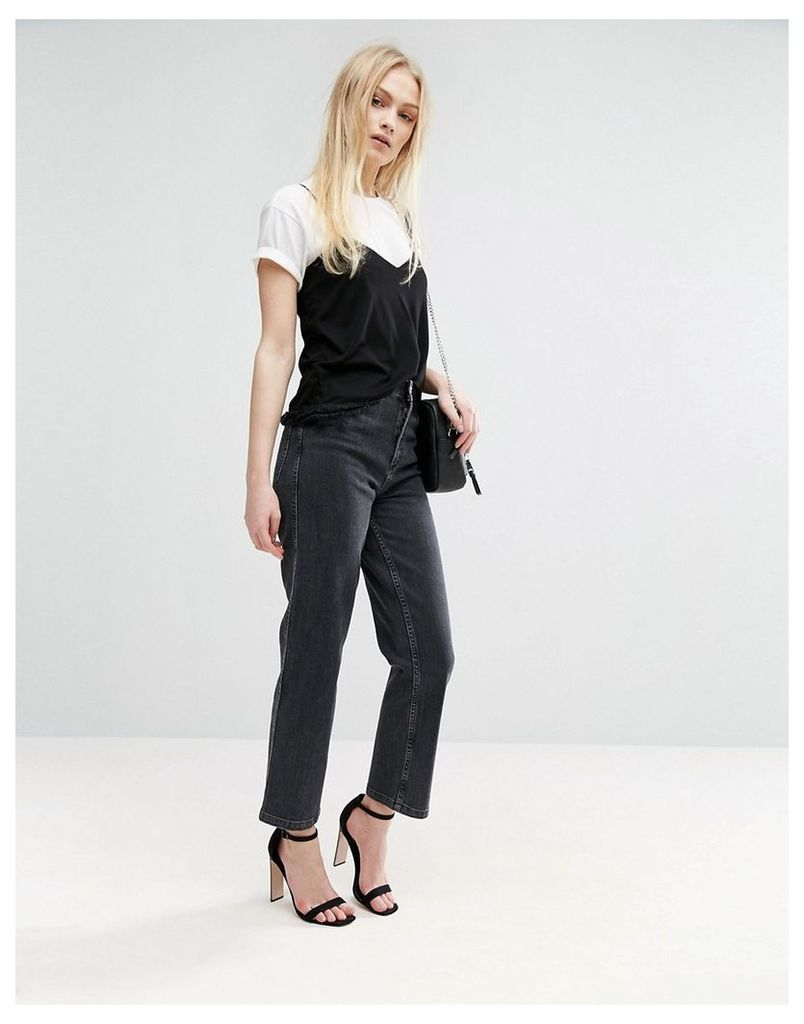 ASOS High Waist Straight Leg Jeans In Washed Black - Black