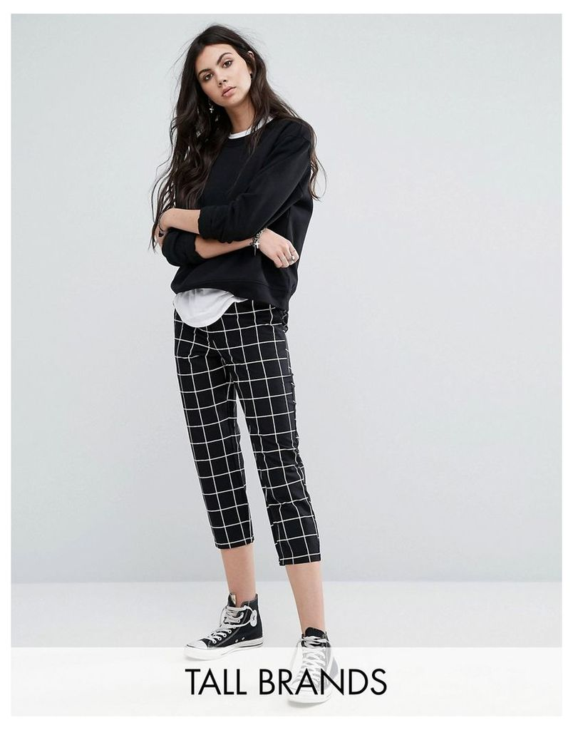 Noisy May Tall Grid Print Cropped Trousers - Mono