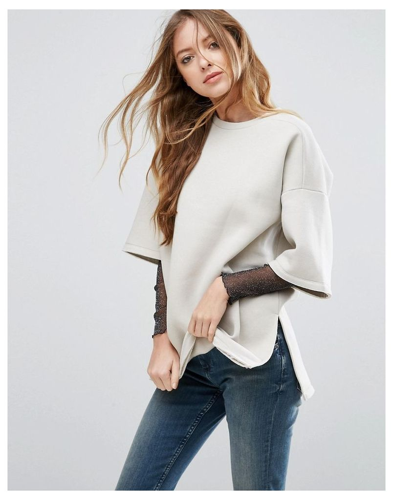 ASOS PREMIUM Sweatshirt with T-Shirt Details and Raw Edges - Stone