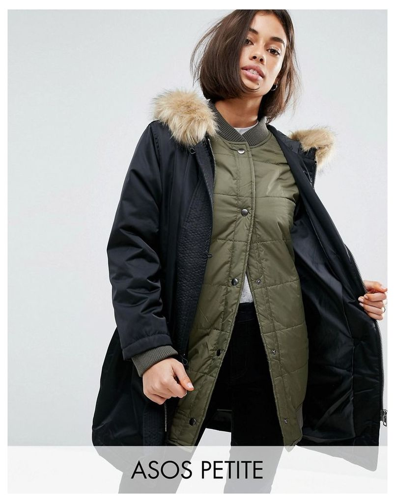 ASOS PETITE 3 in 1 Parka with Ribbed Collar - Black