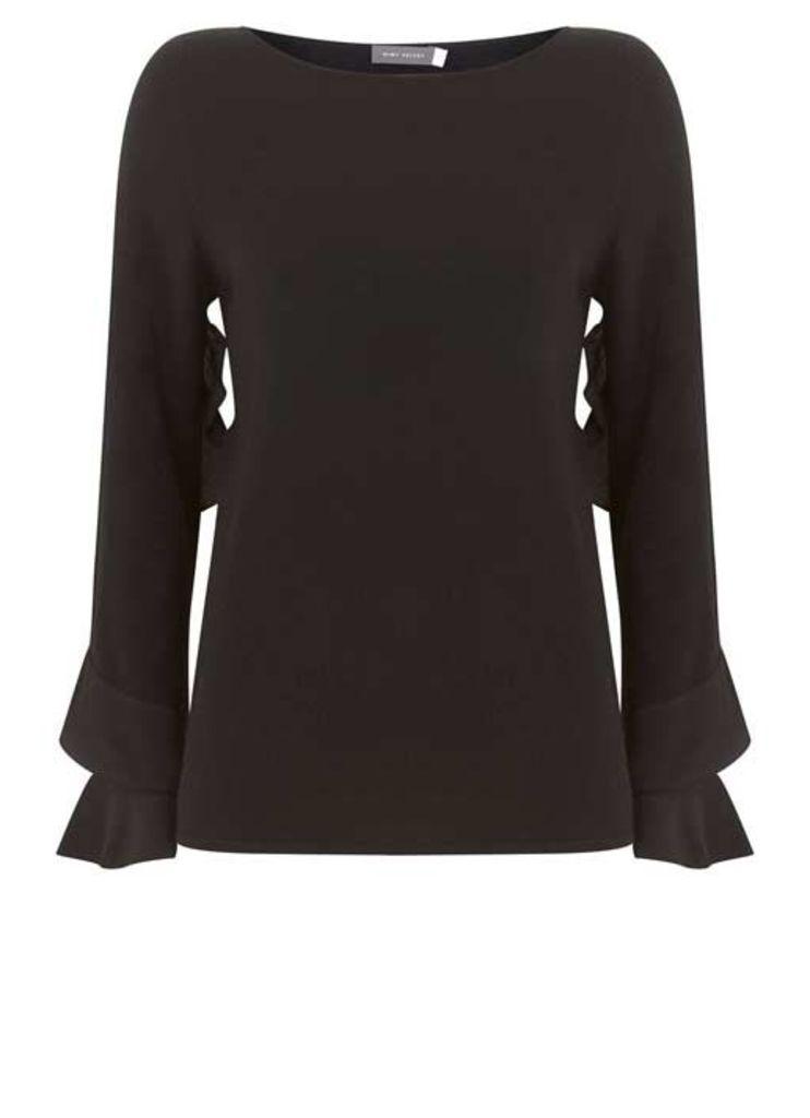Black Woven Ruffle Sleeve Knit