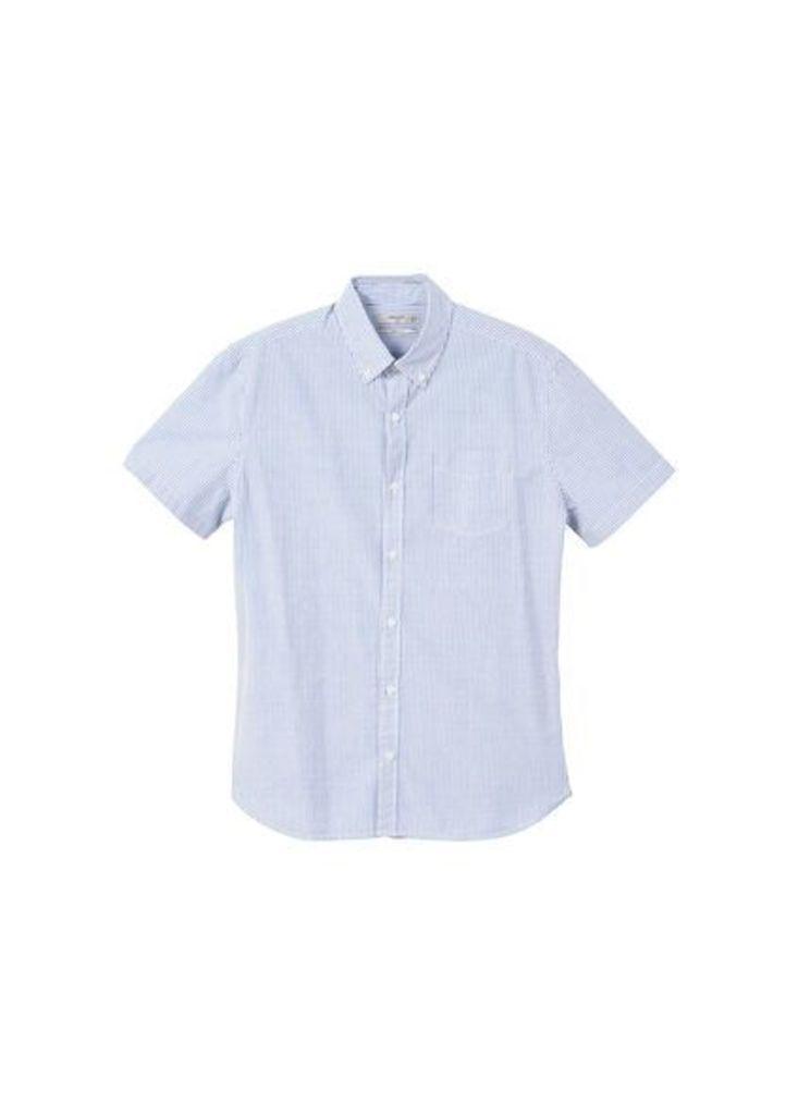Slim-fit cotton seersucker shirt