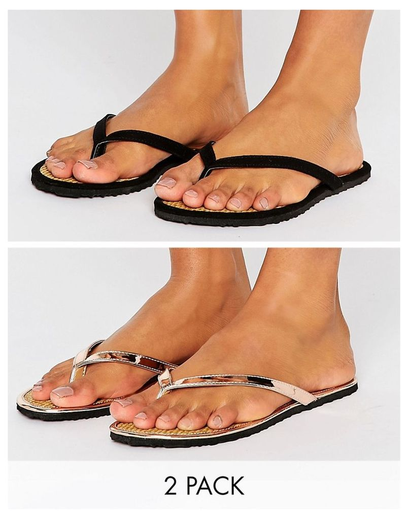 ASOS FIDO Raffia Flip Flop Two Pack - Black/nude