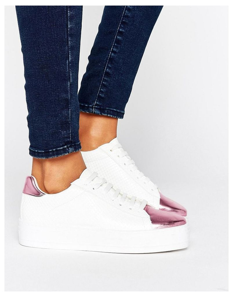 ASOS DEFINITELY Lace Up Trainers - White / pink