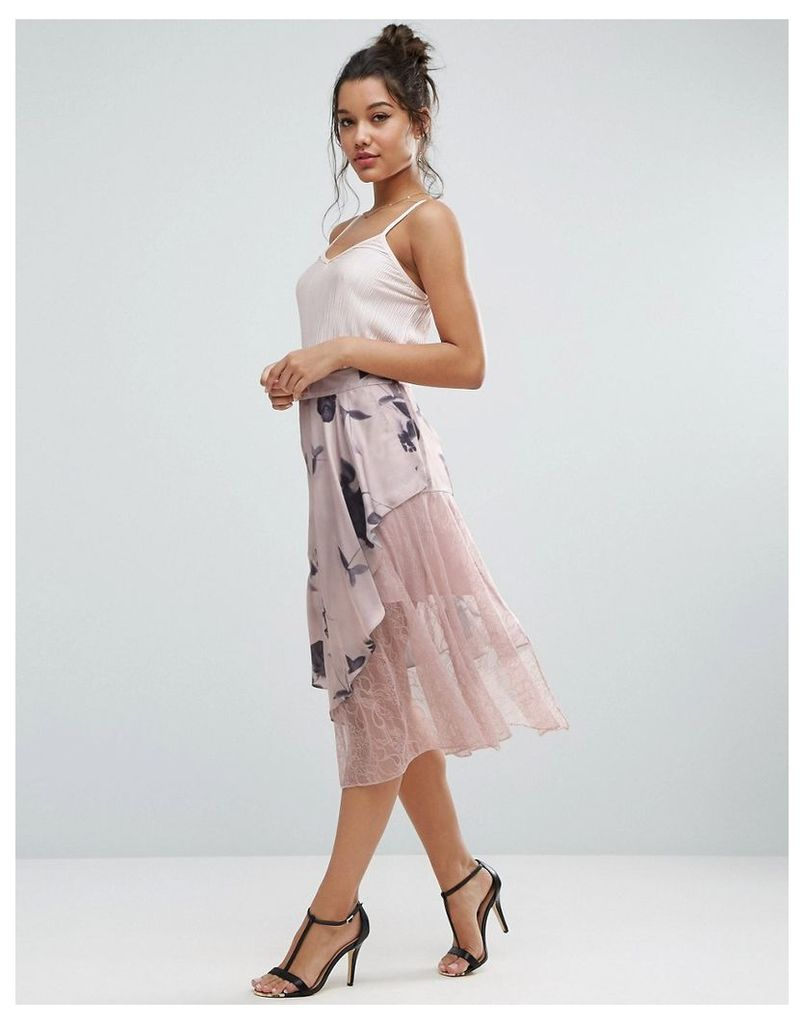 ASOS Satin Deconstructed Skirt with Lace Detail in Floral Print - Multi