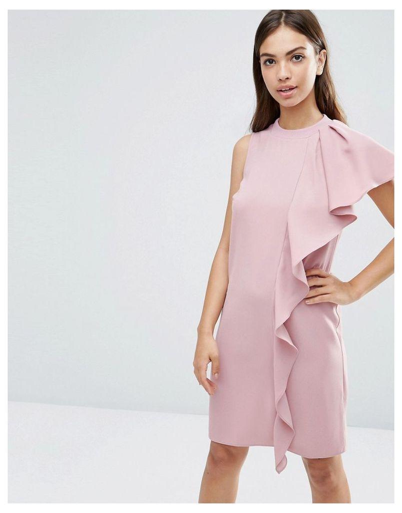 ASOS Sleeveless Ruffle Front Shift Dress - Pink