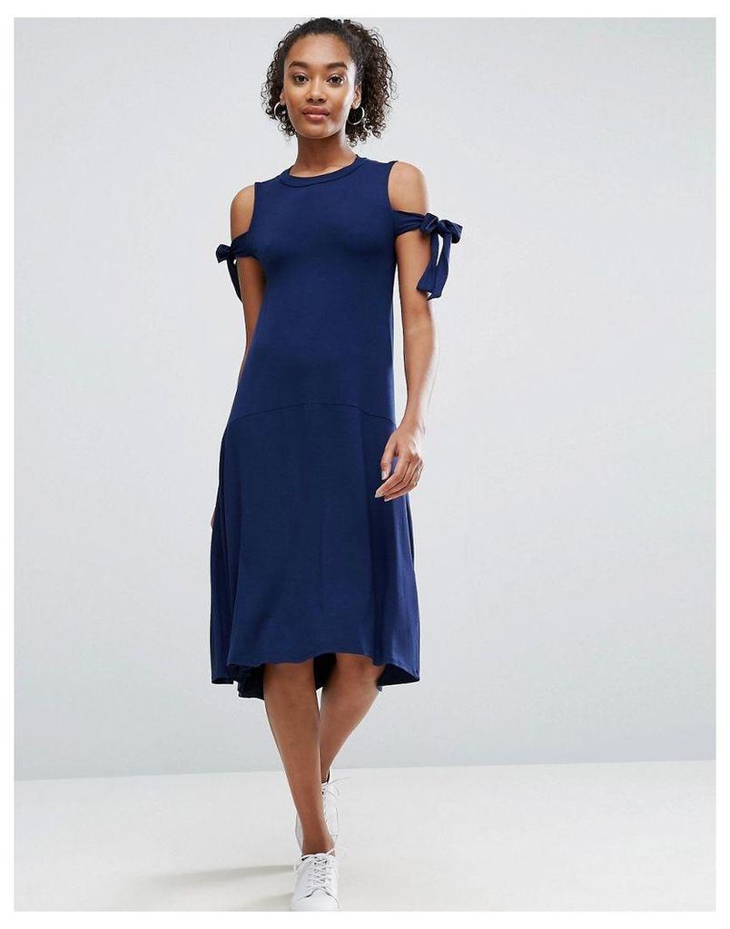 ASOS Midi Dress with Seam Detail Hem and Tie Sleeve - Navy