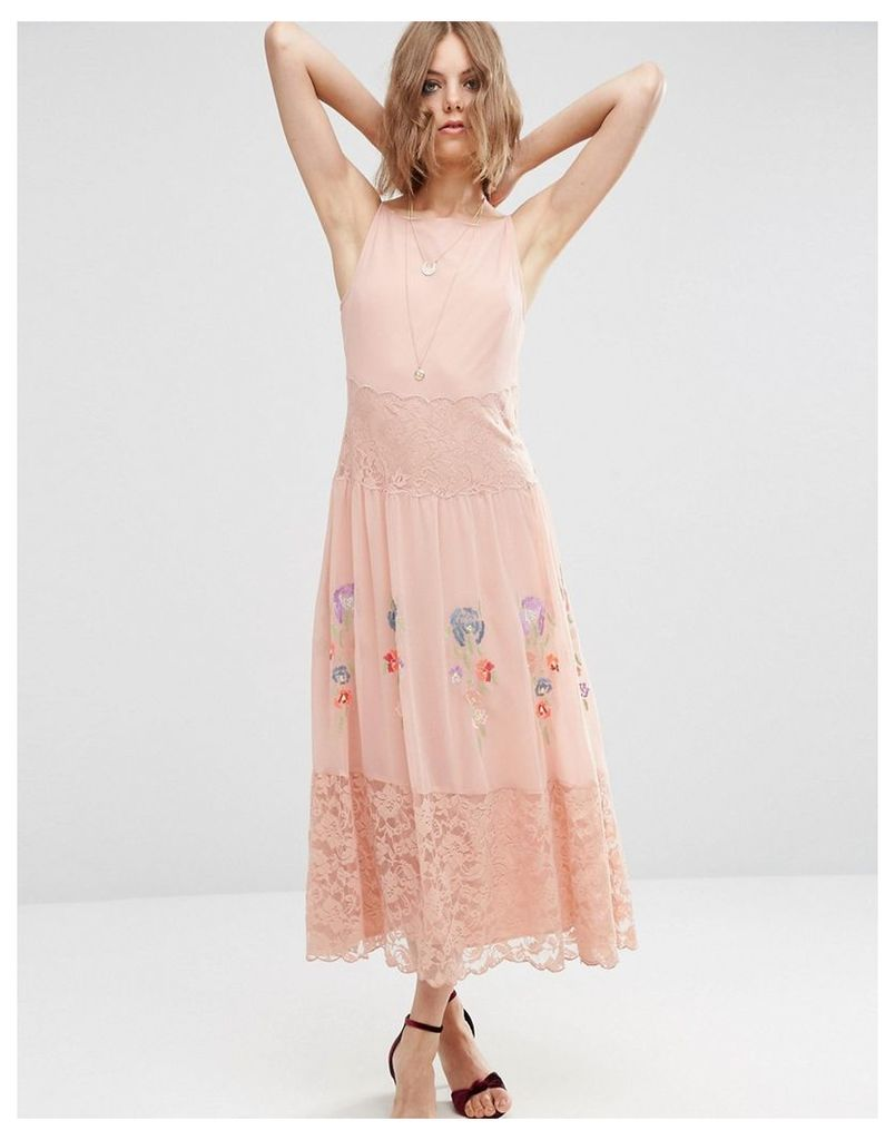 ASOS PREMIUM Maxi Slip Dress With Neon Embroidery - Pink