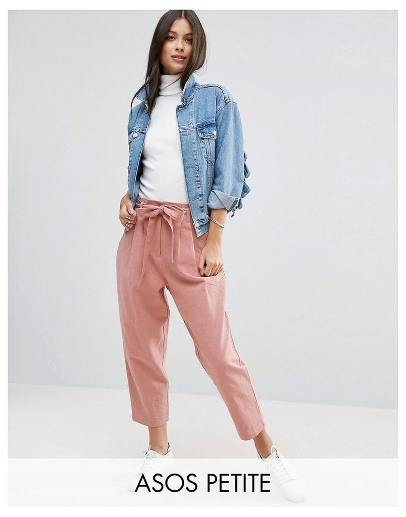 ASOS PETITE Tie Waist Linen Peg Trousers - Rose pink