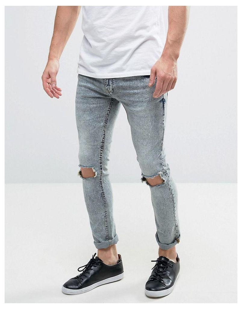 Brave Soul Mid Wash Skinny Jeans - Blue