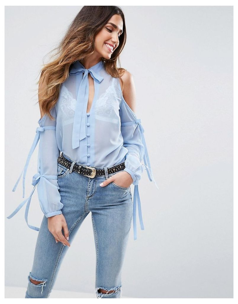 ASOS Pussy Bow Blouse With Cold Shoulder and Tie Sleeve - Light blue