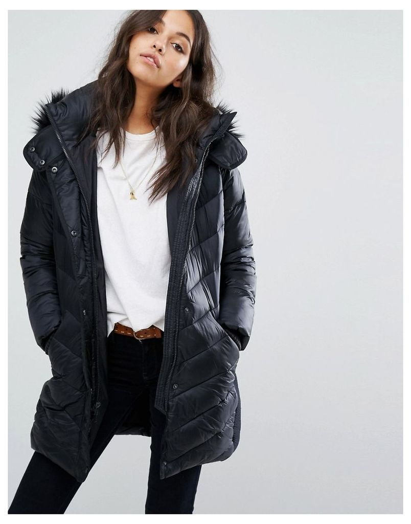 Abercrombie & Fitch Core Mid Thigh Coat - Black dd900
