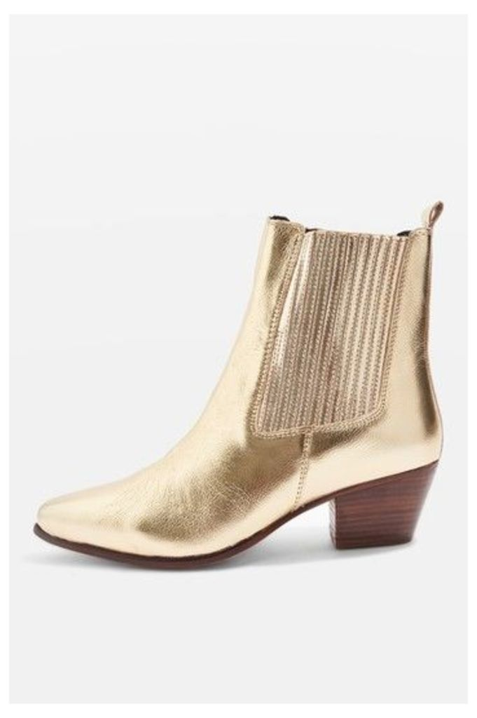 Womens ACE Western Ankle Boots - Gold, Gold