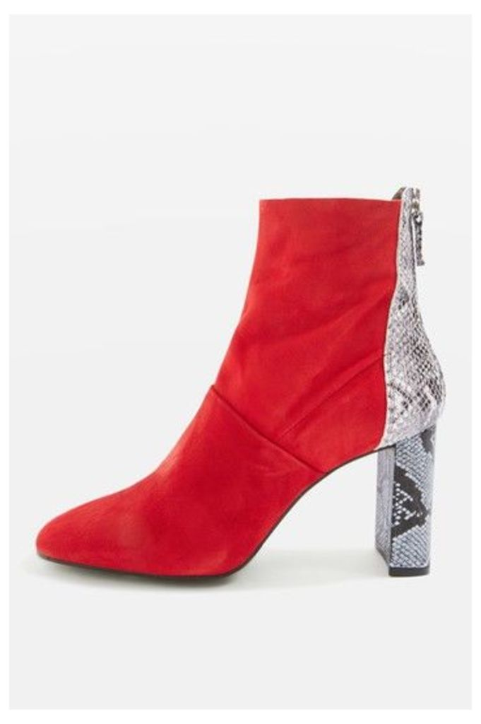 Womens HUNK Setback Snake-Effect Boots - Red, Red