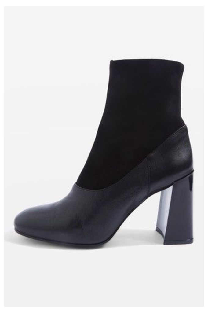 Womens HOLI Leather Sock Boots - Black, Black