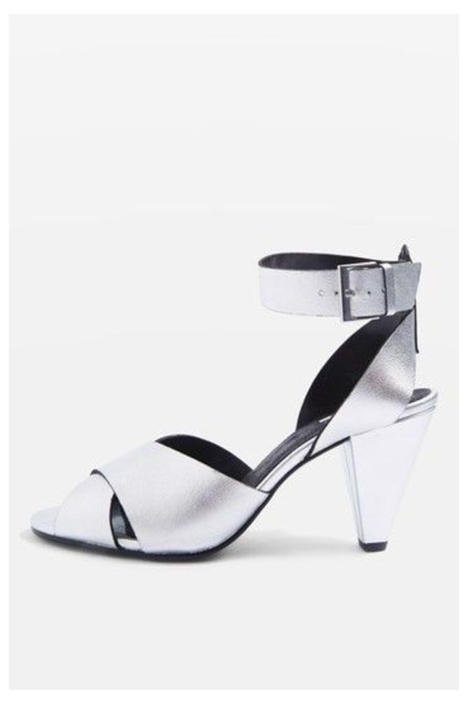 Womens NAZIA Leather Cone Heel Sandals - Silver, Silver