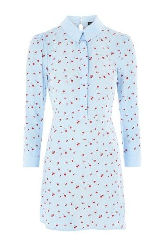 Womens Cherry Print A-Line Shirt Dress - Light Blue, Light Blue