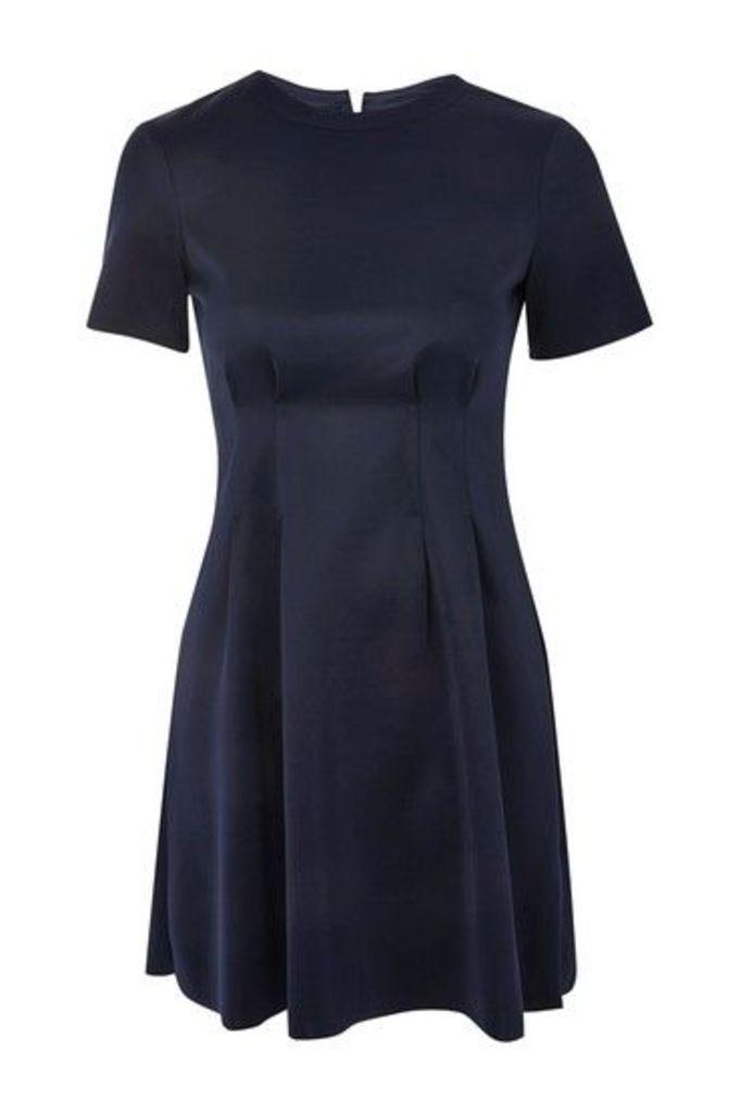 Womens Panel Detail Flippy Dress - Navy Blue, Navy Blue
