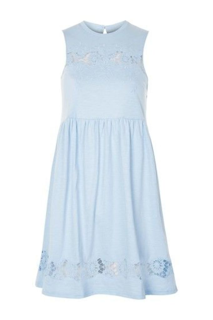 Womens Embroidered Babydoll Dress - Pale Blue, Pale Blue