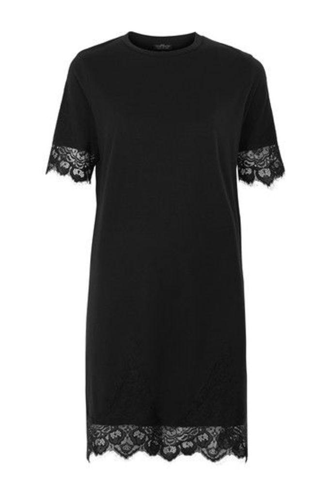 Womens PETITE Lace Petal Shift Dress - Black, Black